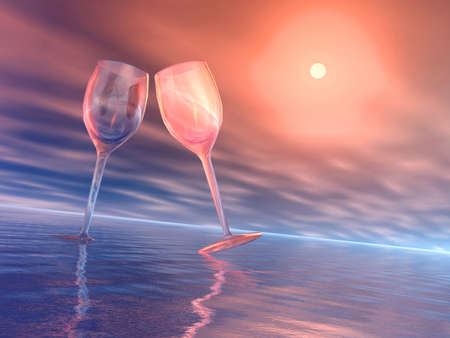 goblet: Two glass and sun. 3D illustration