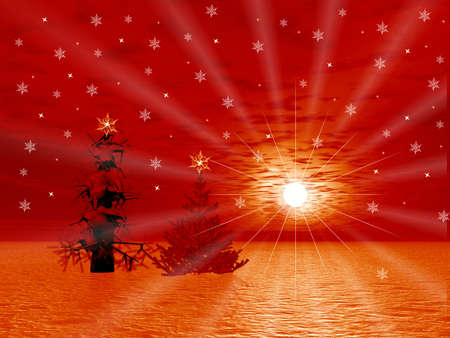 Christmas red abstraction picture with Christmas tree Stock Photo - 1640602