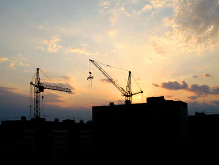 housebuilding: Sunset and house-building