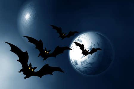 horrify: Halloween. Night. Moon and bats.