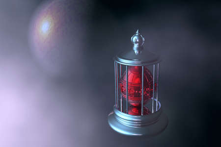 stellar: Space light and red lamp. 3D image