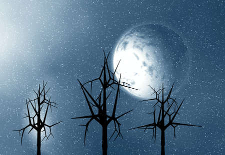 astral:  Moon and trees. 3D illustration