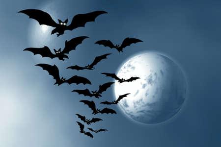 Moon and bats. Stock Photo - 1685354