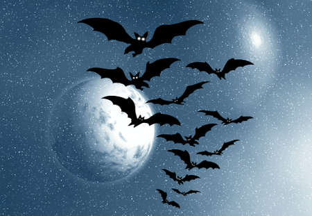 moon festival: Moon and bats and snow