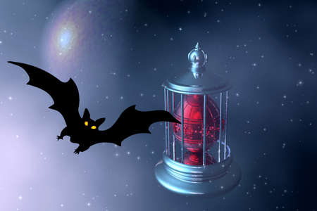 astral: Halloween. Night. Moon and bats.