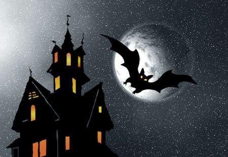 horrify: Halloween. Night. Moon, castle and bats.