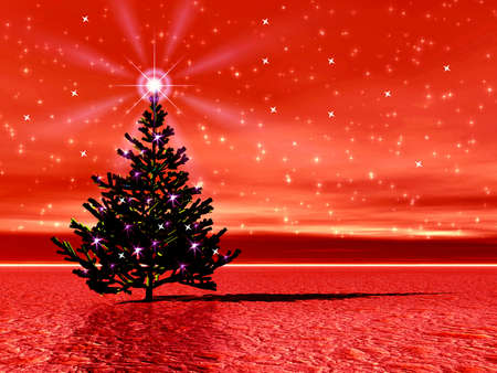 Christmas red abstraction picture with Christmas tree Stock Photo - 1727209