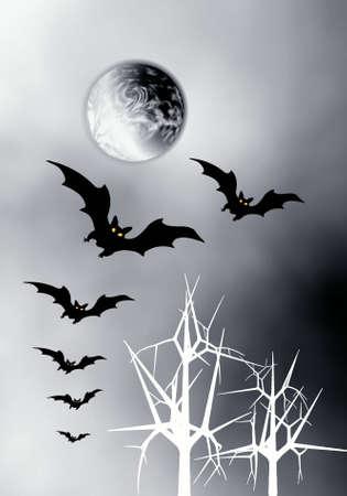 Halloween. Night. Moon and bats.  photo