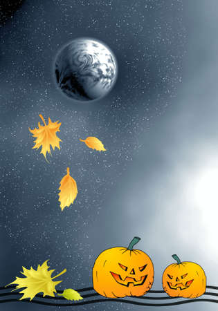 cucurbit: Moon and pumpkins and fall leaves