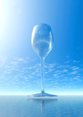 tumbler: Lonely glass and ocean. 3D fantasy