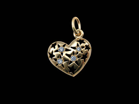 Golden heart. Gift by a holiday photo