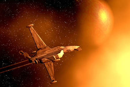 star shape: Space war-plane. 3D illustration
