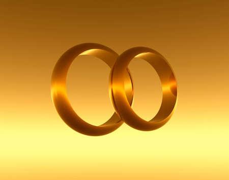 brilliants: Wedding golden  rings. Illustration 3d Stock Photo
