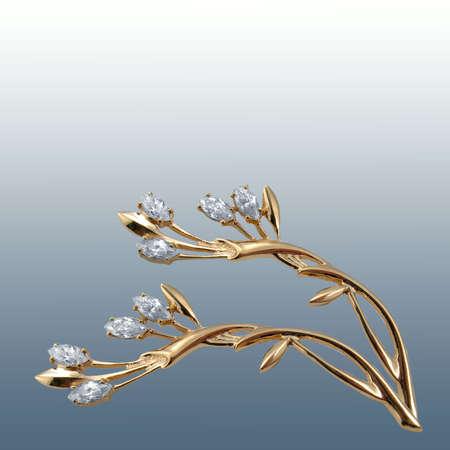 jewelle: Diamond brooch Stock Photo