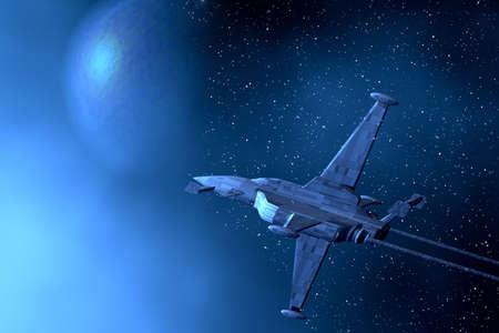 space wars: Space war-plane. 3D illustration