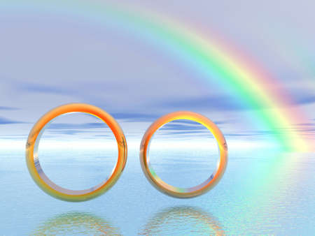 silver ring: Wedding rings. 3D landscape. Rainbow
