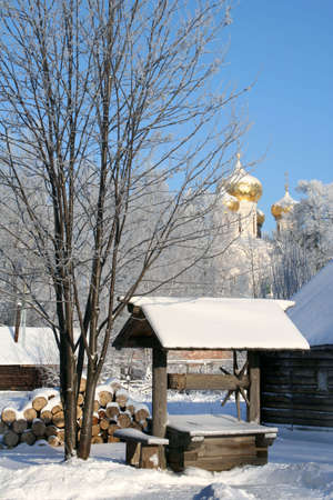 Winter nature. Russian country. Old wood well Stock Photo - 2073382