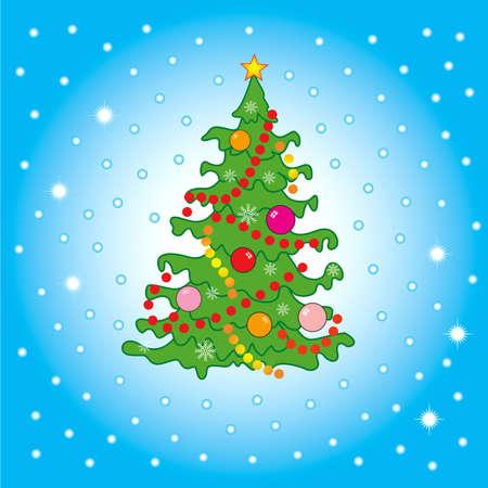 sillhouette: Christmas tree in snow ( XXXL size )