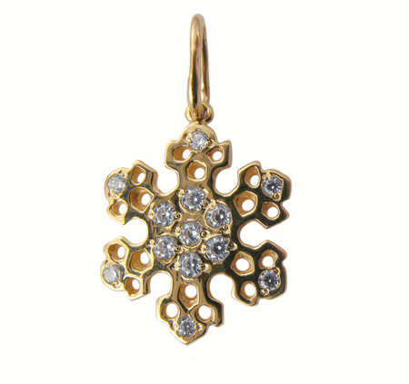 jewelle: Golden snowflake with brilliants Stock Photo