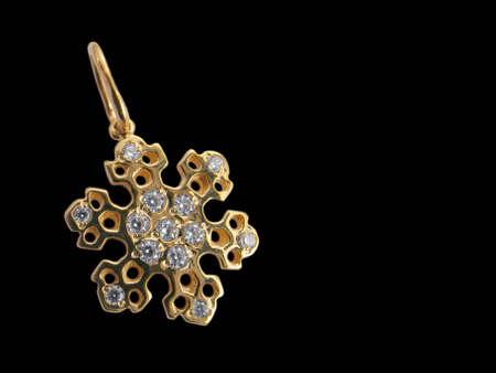 brilliants: Golden snowflake with brilliants Stock Photo