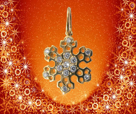 illustrates: Golden snowflake in golden Christmas frame
