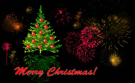 illustrates:  Christmas card with Christmas tree and fireworks Stock Photo