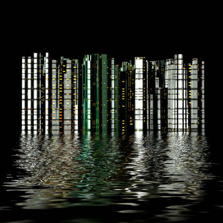 reflected: 3D city reflection in water
