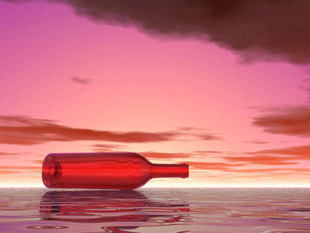 bocal: Lonely bottle in sea. Sunset. Stock Photo