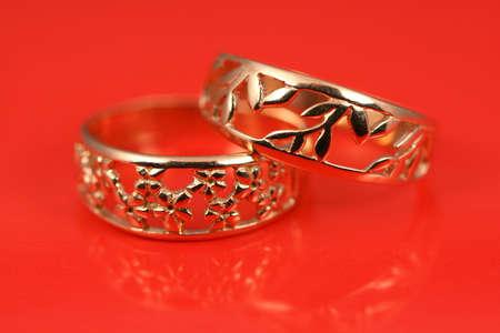 mariage: Jewelry wedding presents on silk background