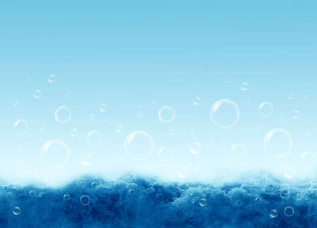 soapy: Water waves  and soapy bubbles Stock Photo
