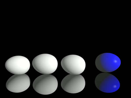 White chicken's  eggs and  one blue egg Stock Photo - 2554251