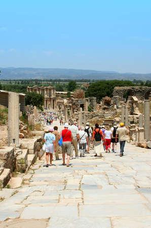 antiquity: Antiquity greek city- Ephesus. Columns and blue sky