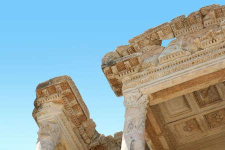 antiquity: Antiquity greek city- Ephesus. Library close-up Stock Photo