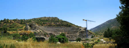 antyk: Starożytności miasto greckim-Ephesus. Panorama amfiteatr