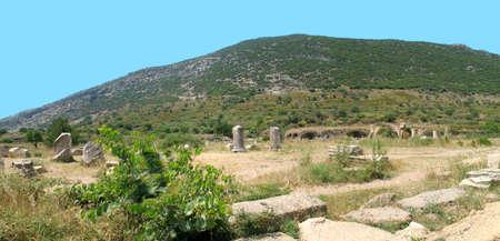 antiquity: Ruins of antiquity greek city  - Ephesus. Panorama Stock Photo