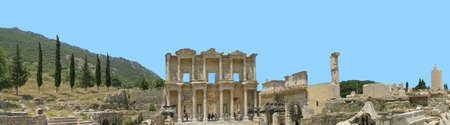 antiquity: Antiquity greek city - Ephesus. library. Panoramic scene Stock Photo