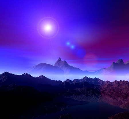 Paisaje. 3D gr�ficos por ordenador. Noche de Estrellas y  Foto de archivo - 2993762