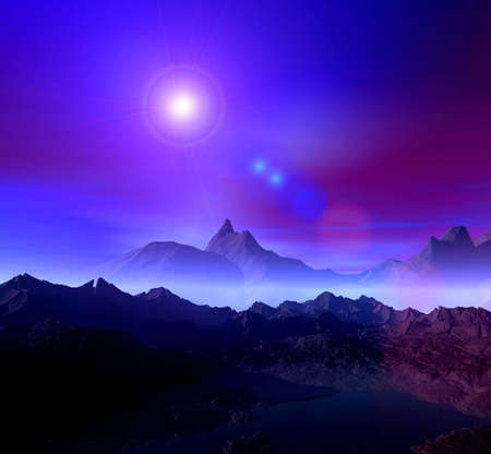 Paisaje. 3D gráficos por ordenador. Noche de Estrellas y  Foto de archivo - 2993762