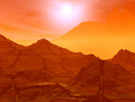 Landscape. 3D computer graphics.   Sunset on a sea Stock Photo - 2993795