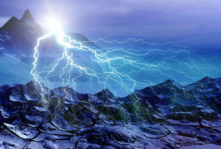 Ocean and lightning. Landscape. 3D computer graphics. Stock Photo - 2993805