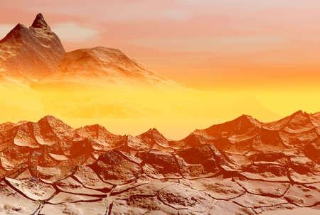 Landscape. 3D computer graphics.   Sunset on a sea Stock Photo - 2993802