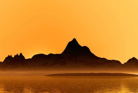 Sunset on a sea. Landscape. 3D computer graphics.   Stock Photo - 2993778