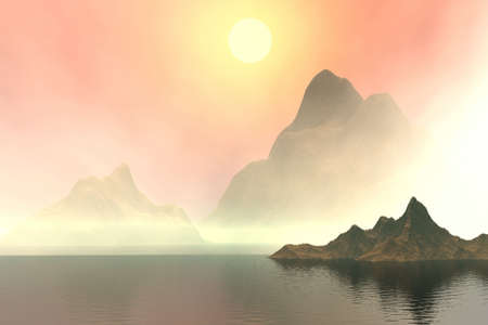 smoky mountains:   Sunset on a sea. Landscape. 3D computer graphics.