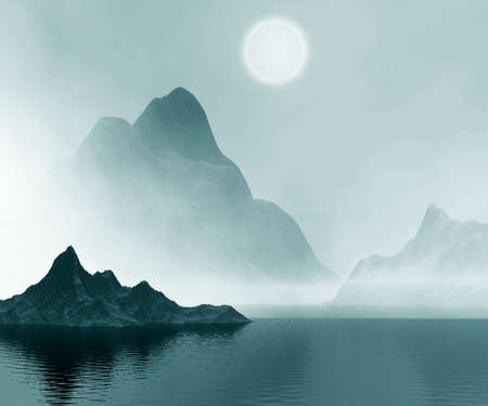 foggy:   Mountains  and sea in mist.  3D computer graphics.