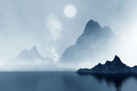 smoky mountains:  Mountains  and sea in mist. Landscape 3d
