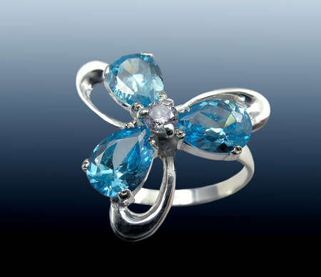 jewelle: Silver  ring with Sapphire