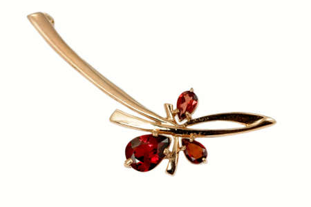 jewelle: Stylish golden brooch with garnet  isolated on white