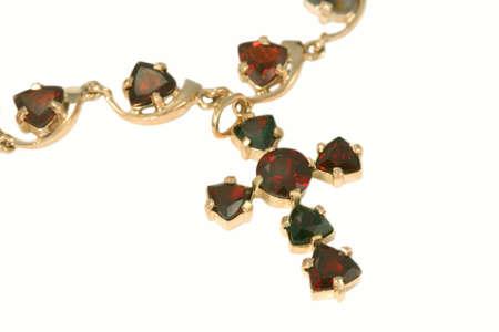 jewelle: Golden Cross with garnets