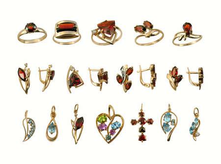 brilliants: Variety stylish golden jewelry with gems