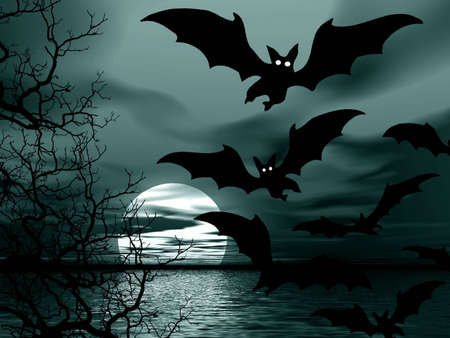 Moon and bats. Halloween picture photo